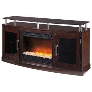 Signature Design by Ashley Chanceen Medium TV Stand with Fireplace Insert