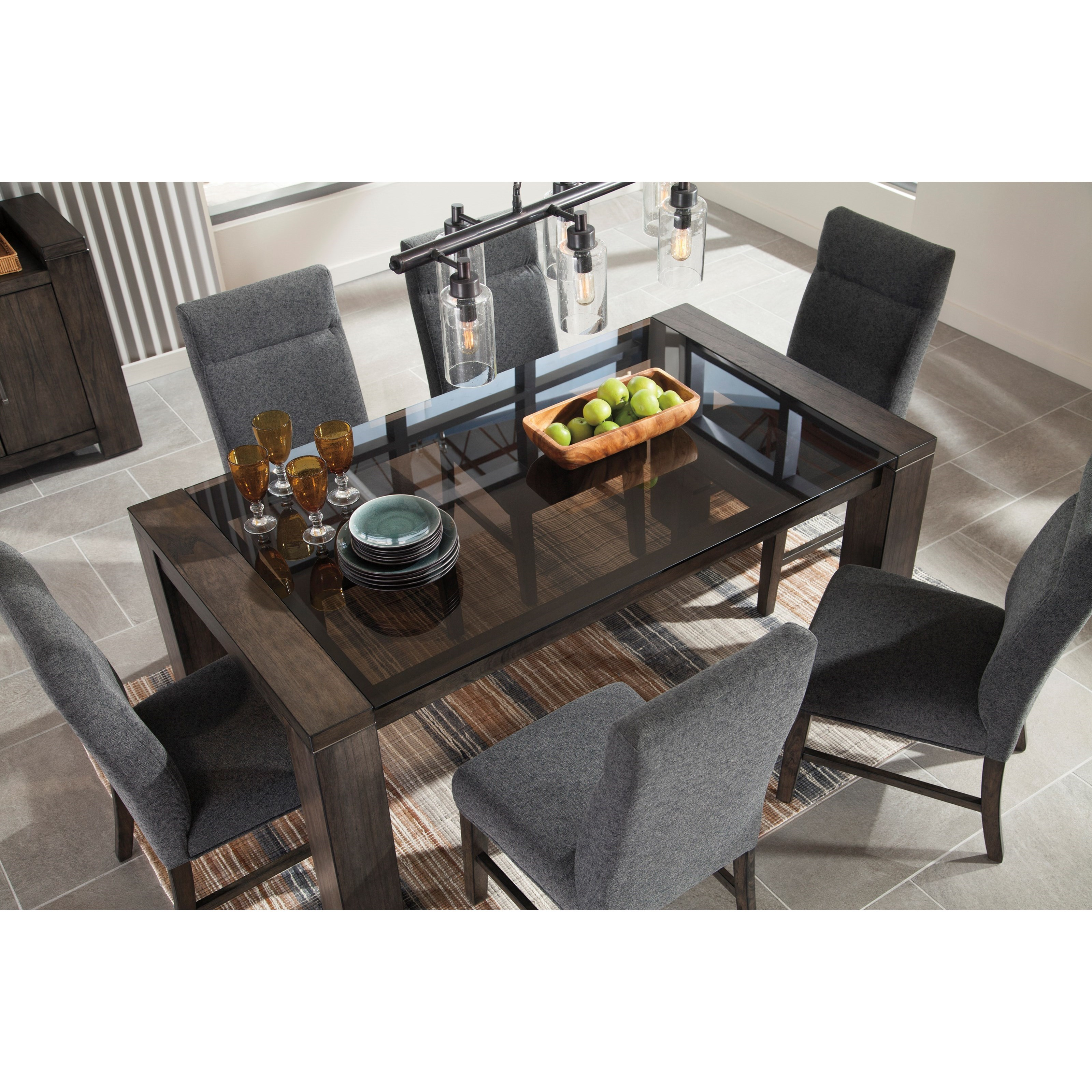 Ashley signature design chansey d667 25 contemporary rectangular dining room table with glass - Glass top dining room tables rectangular ...
