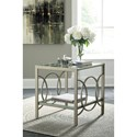 Signature Design by Ashley Charmoni Champagne Finish Metal Rectangular End Table with Glass Top