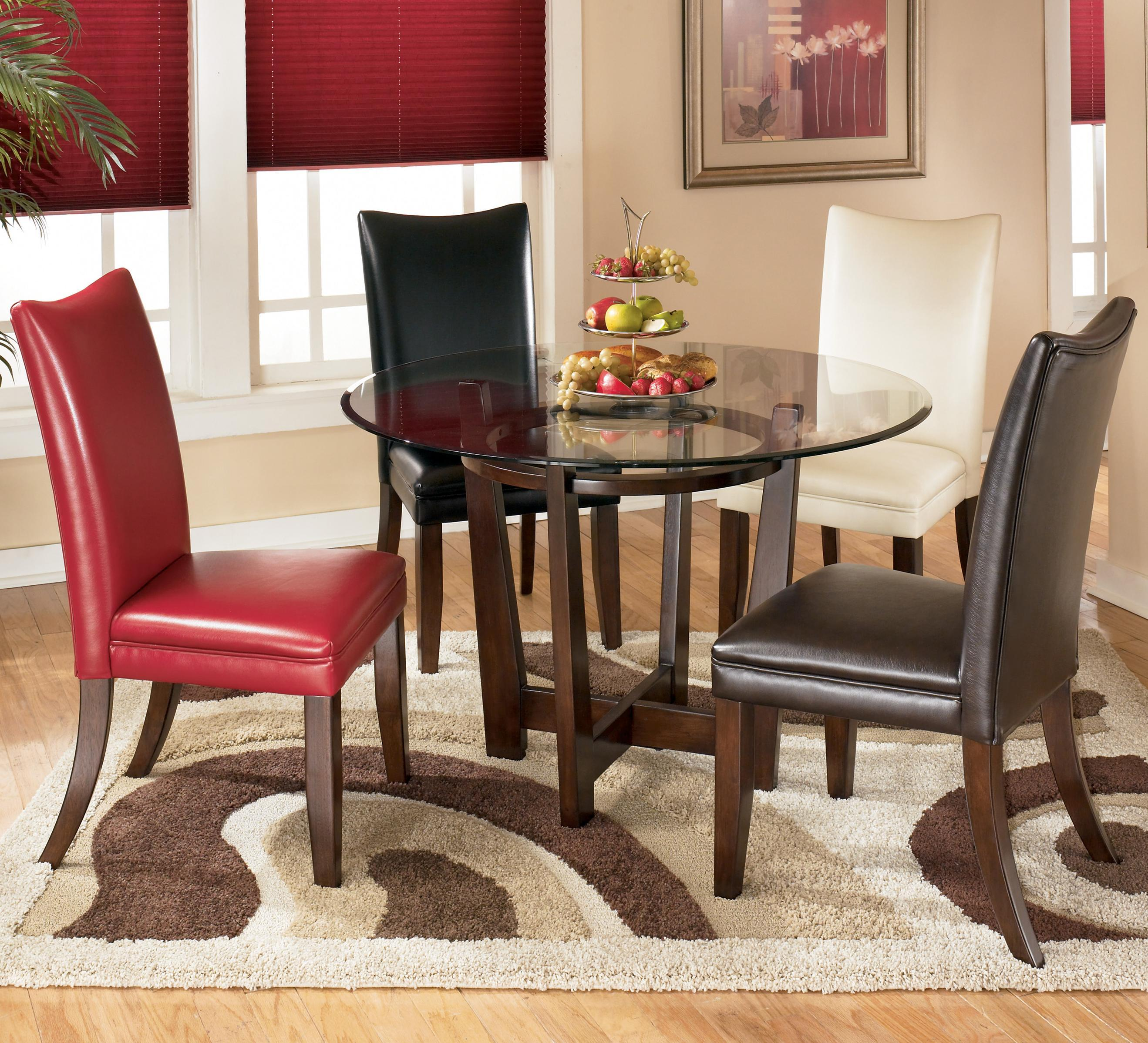 Signature Design by Ashley Charrell 5 Piece Round Dining Table Set - Item Number: D357-15+01+02+03+04