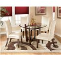 Signature Design by Ashley Charrell 5 Piece Round Dining Table Set - Item Number: D357-15+4x02