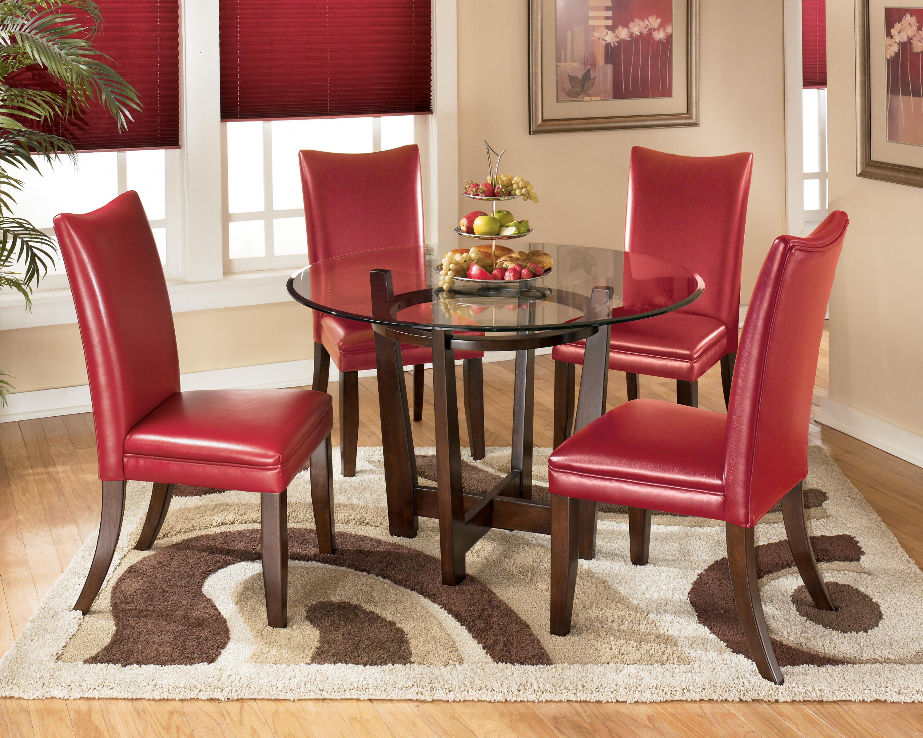 Signature Design By Ashley Charrell 5 Piece Round Dining Table Set With Red Chairs Northeast Factory Direct Dining 5 Piece Set