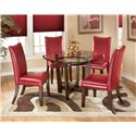 Signature Design by Ashley Charrell 5 Piece Round Dining Table Set - Item Number: D357-15+4x03