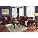 Signature Design by Ashley Chesterbrook Traditional Loveseat with Flared Rolled Arms & Wood Trim