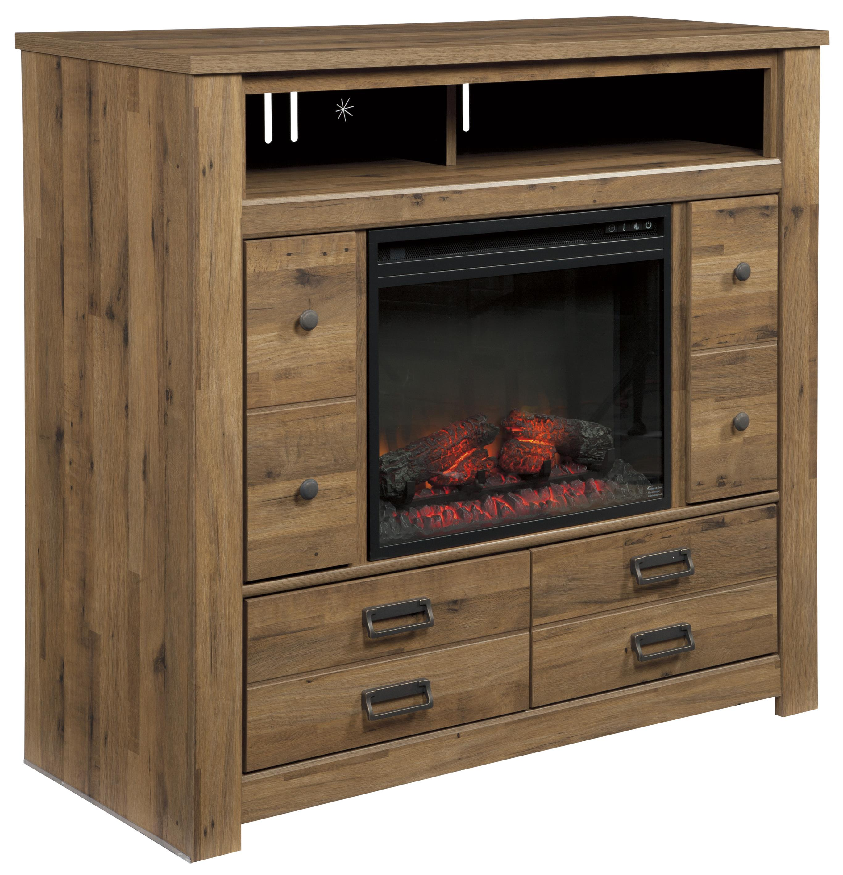 Signature Design by Ashley Cinrey Media Chest with Fireplace Insert - Item Number: B369-49+W100-01