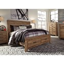 Signature Design by Ashley Cinrey Queen Panel Storage Bed with 2 Footboard Drawers