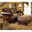 Signature Design by Ashley Claremore - Antique Chair and 1/2 and Ottoman - Item Number: 8430323+8430314