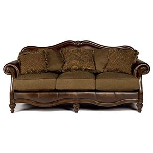 Signature Design By Ashley Claremore   Antique Traditional Two Toned Sofa  With Loose Pillow Back | Royal Furniture | Sofas