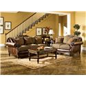 Signature Design by Ashley Claremore - Antique Traditional Two-Toned Sofa with Loose Pillow Back - Shown with Loveseat