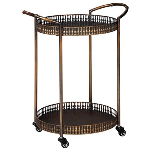 Metal Bar Cart in Antique Bronze Finish