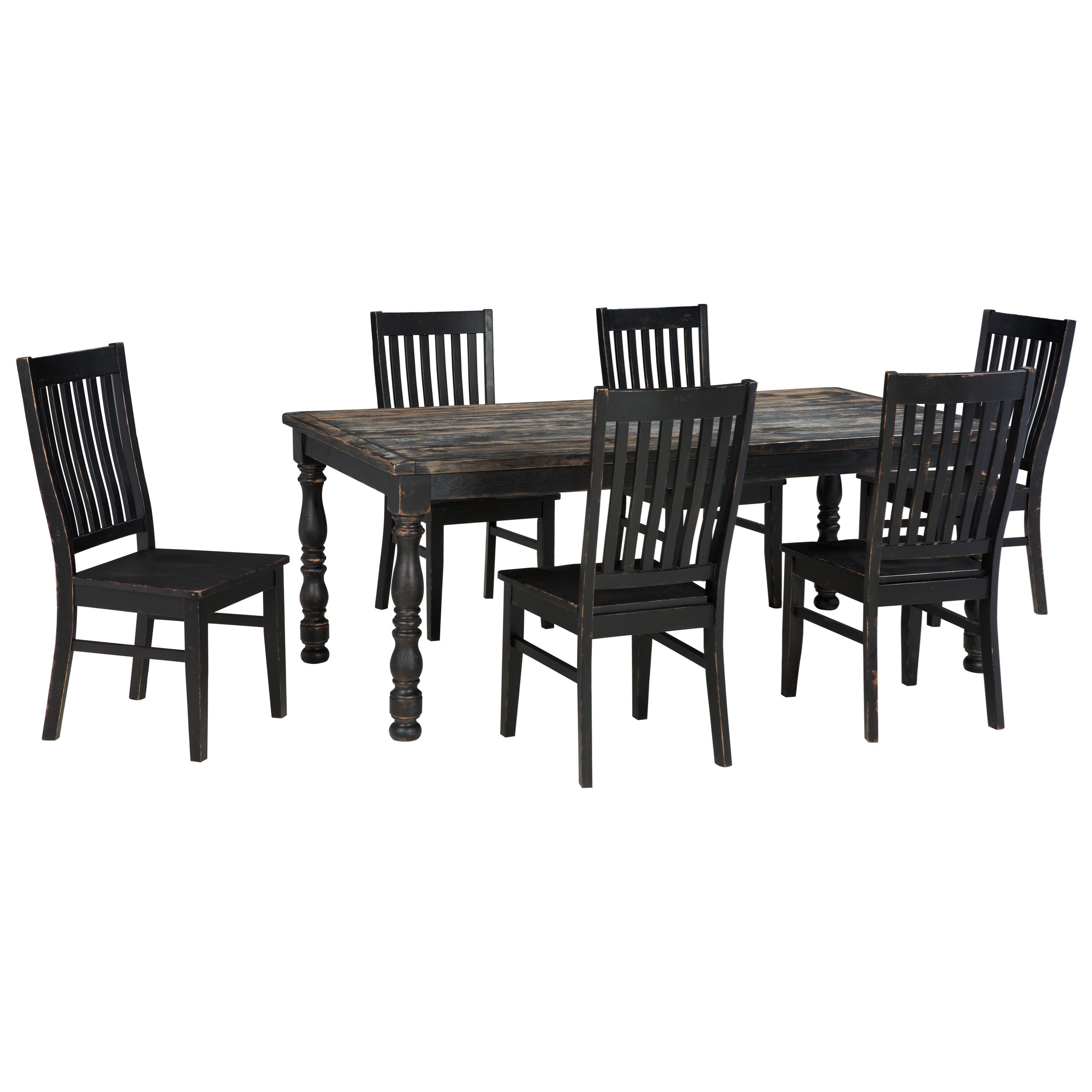 Signature design by ashley clayco bay 7 piece rectangular for 7 piece dining set with bench
