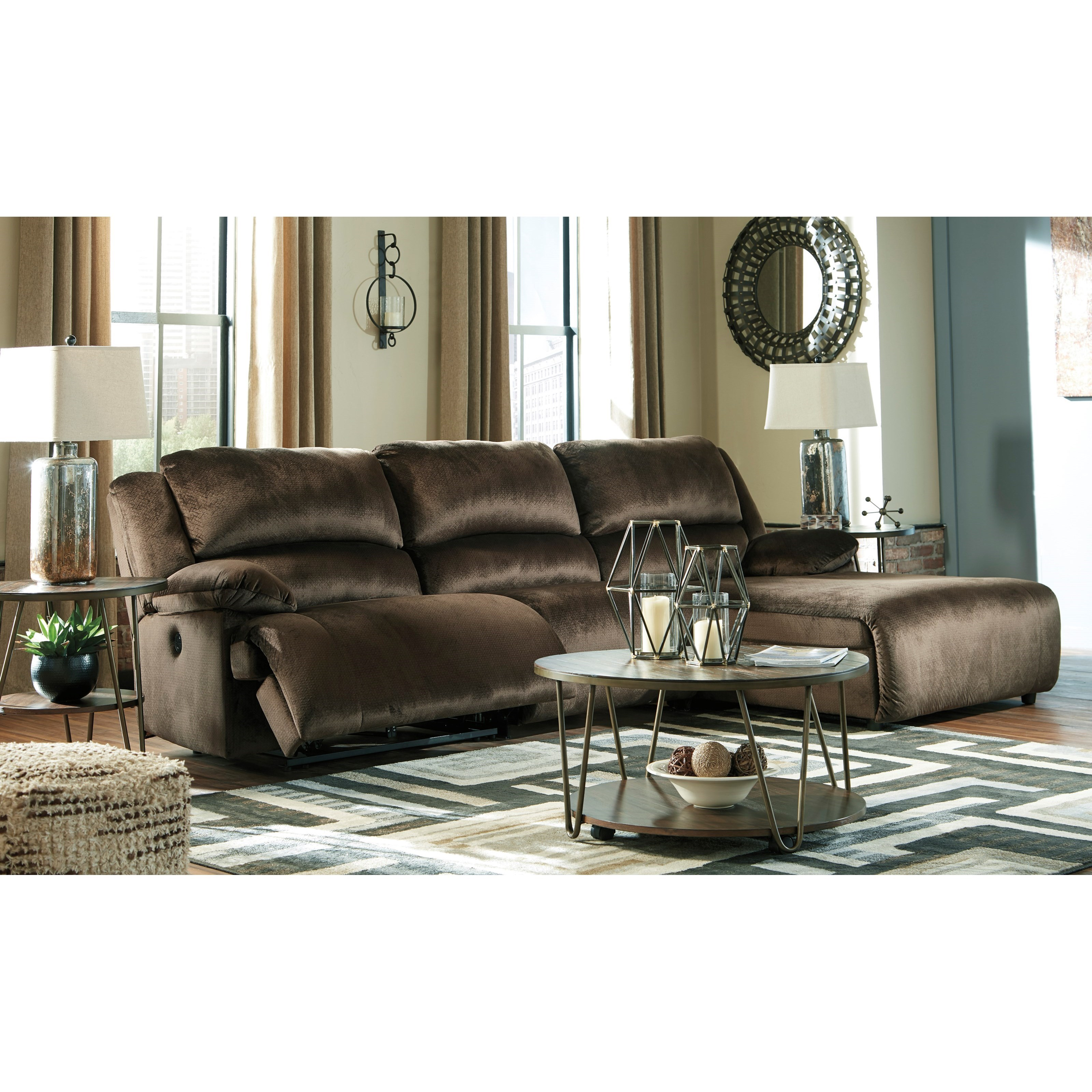Power Recl. Sectional with Pressback Chaise