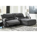 Signature Design by Ashley Clonmel Reclining Sectional w/ Chaise & Console - Item Number: 3650540+57+07
