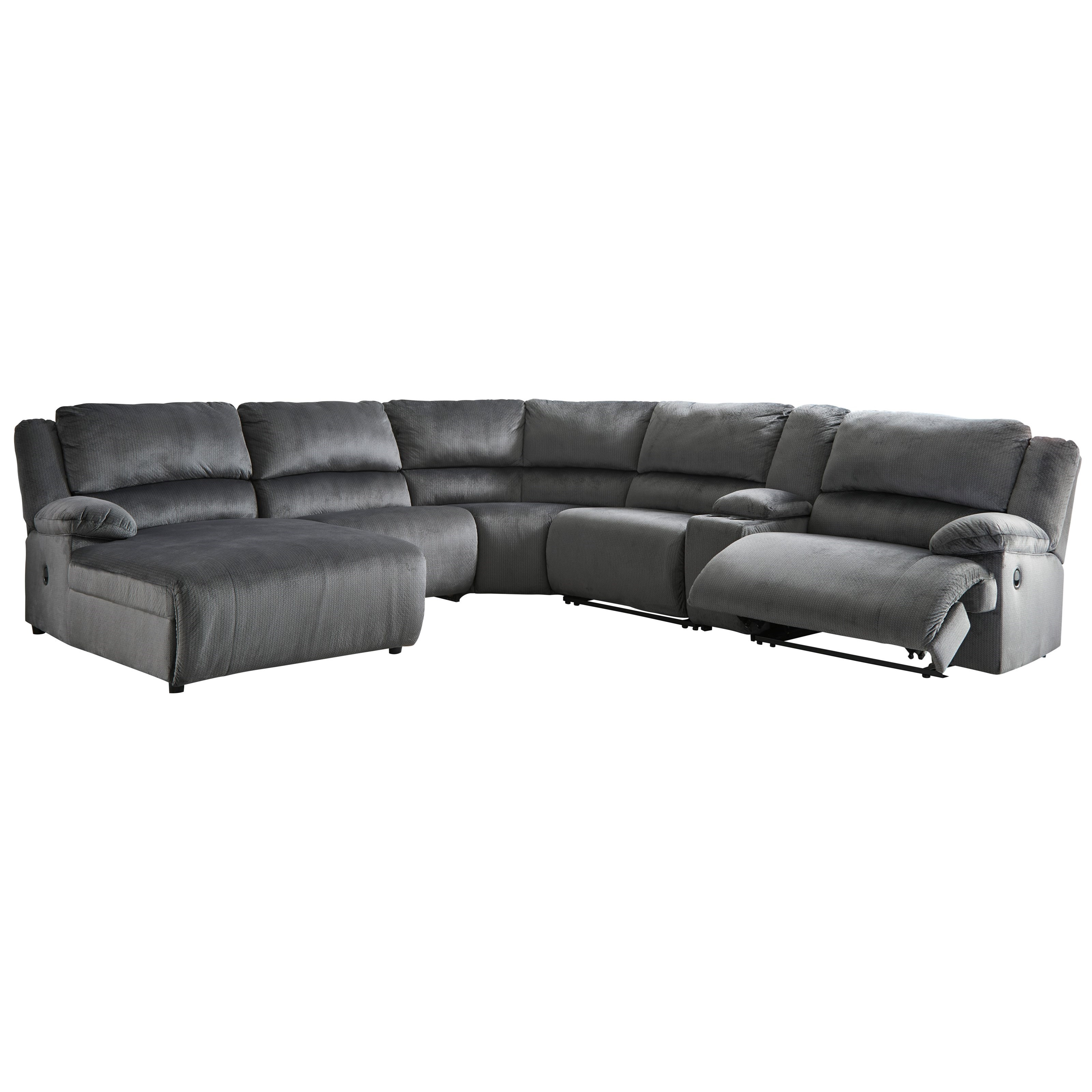 Clonmel Reclining Sectional with Chaise & Console by Ashley (Signature Design) at Johnny Janosik