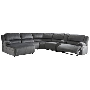 Power Recl. Sectional with Chaise & Console