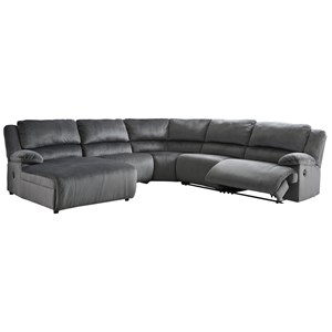Reclining Sectional with Pressback Chaise