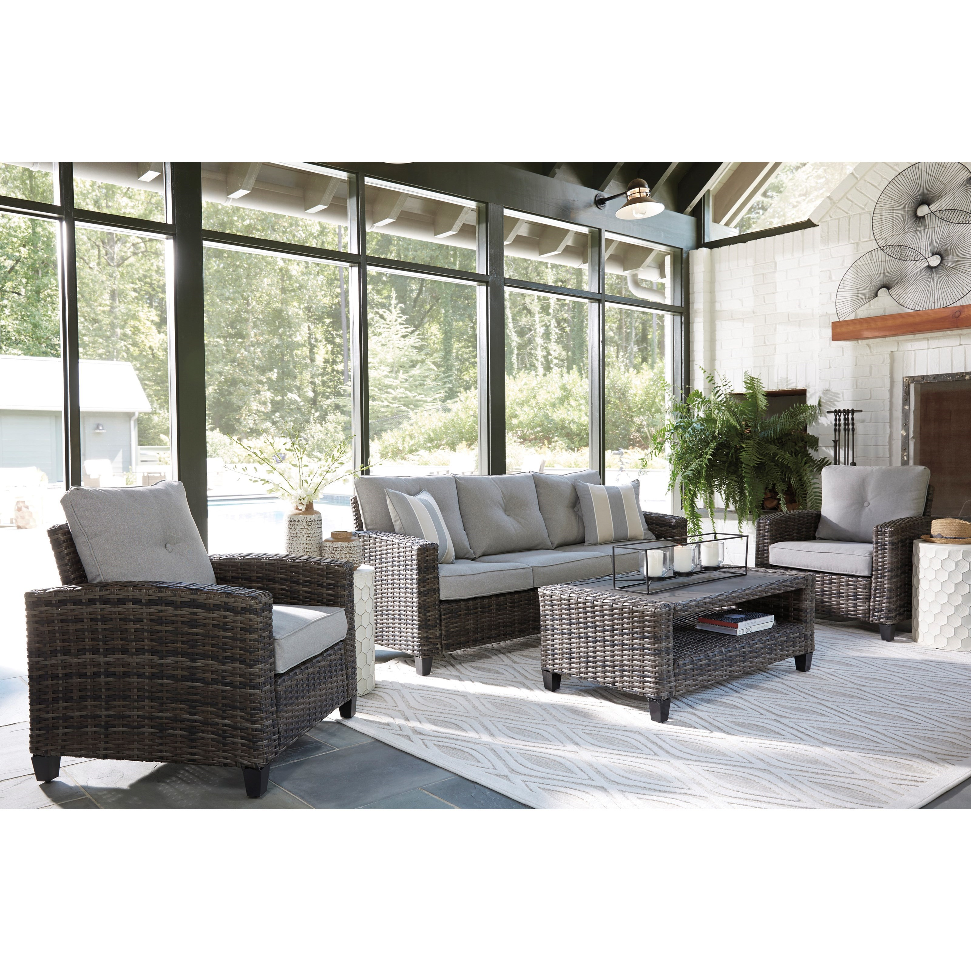 Cloverbrooke Outdoor Conversation Set by Ashley (Signature Design) at Johnny Janosik
