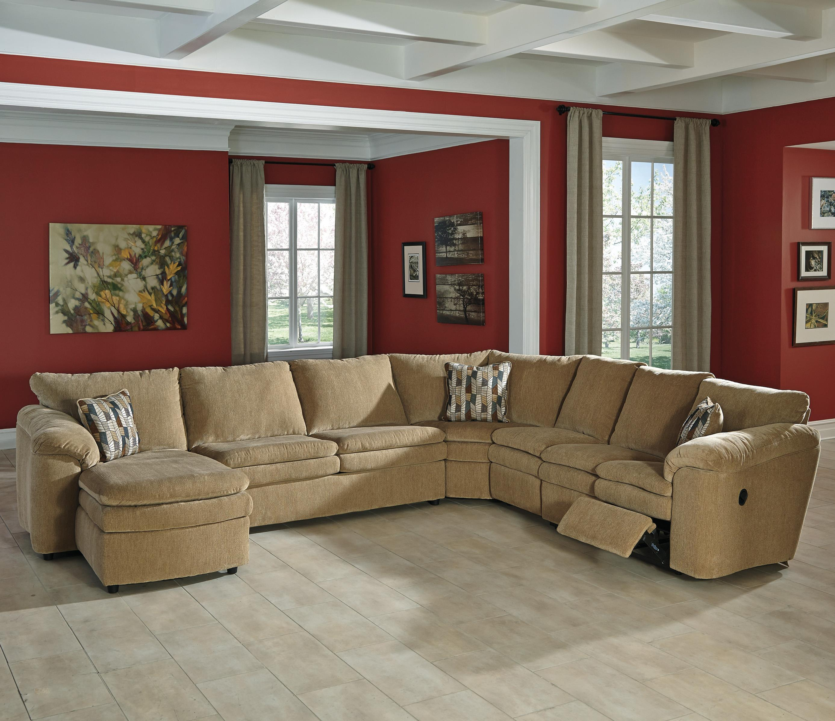 Signature Design by Ashley Coats 5-Piece Recl. Sectional w/ Chaise & Sleeper - Item Number: 4410016+71+77+46+85