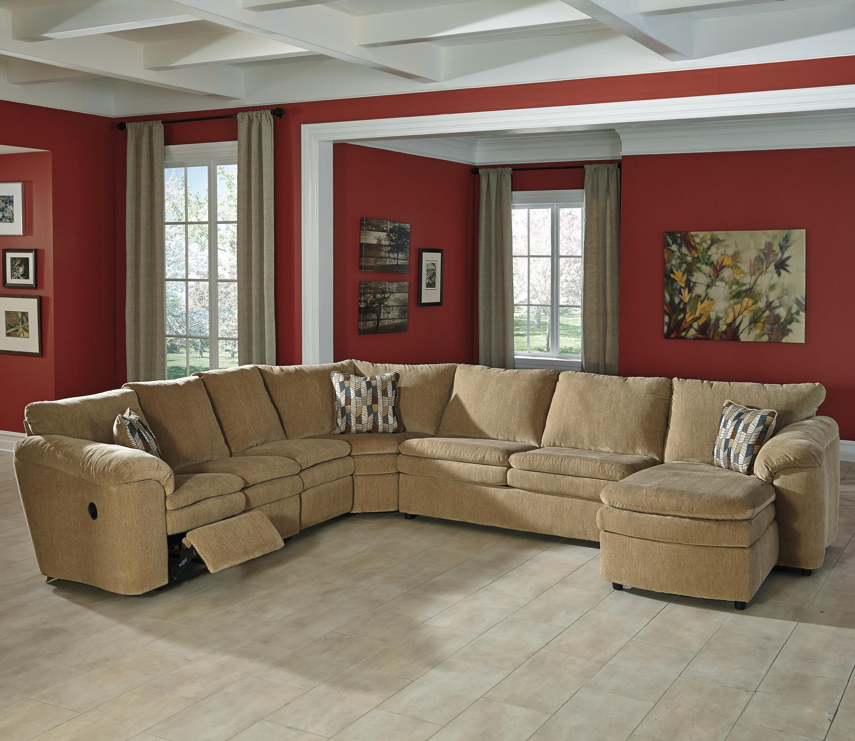 Signature Design By Ashley Coats Casual Contemporary 5 Piece. Leather Sectional  Recliner And Full Size Sleeper Sofa Palliser H ...