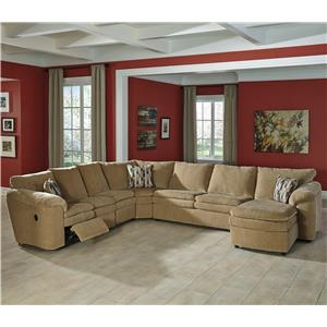 Signature Design by Ashley Coats 5-Piece Recl. Sectional w/ Chaise & Sleeper