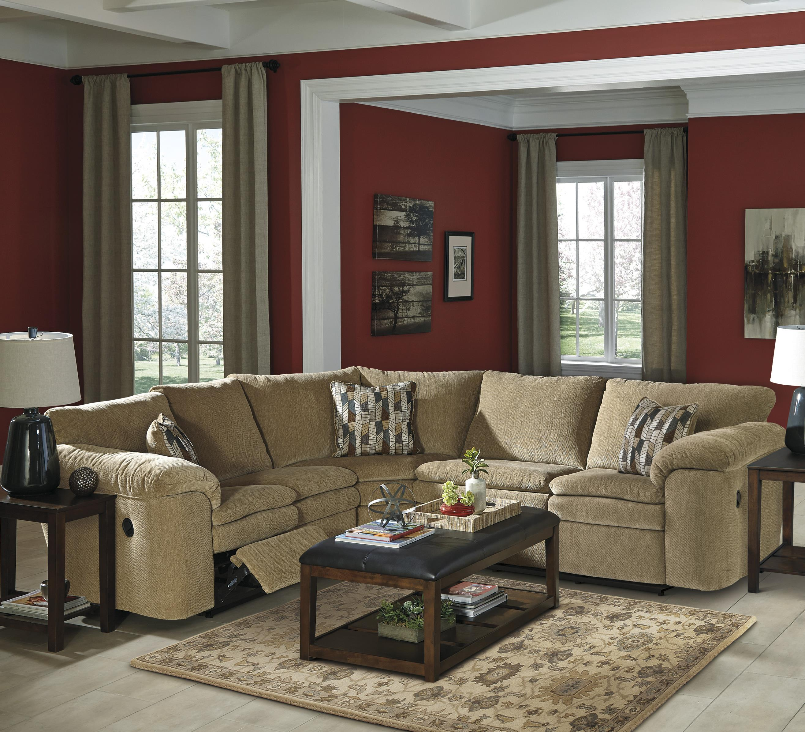 Signature Design by Ashley Coats 3-Piece Reclining Sectional - Item Number: 4410084+77+85