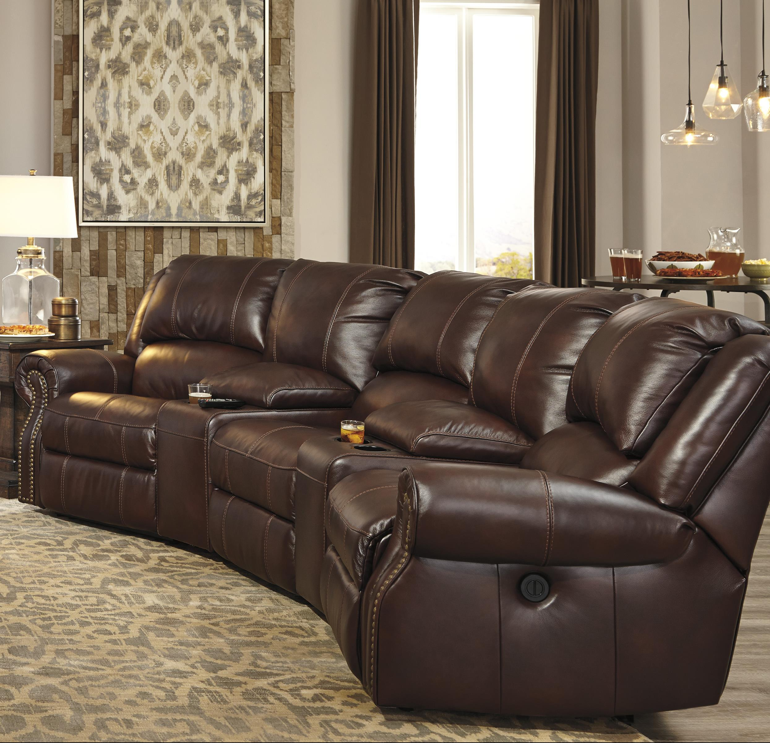 Signature Design by Ashley Collinsville 5-Piece Power Recline Theater Seating Group - Item Number: U7210058+2x27+19+62