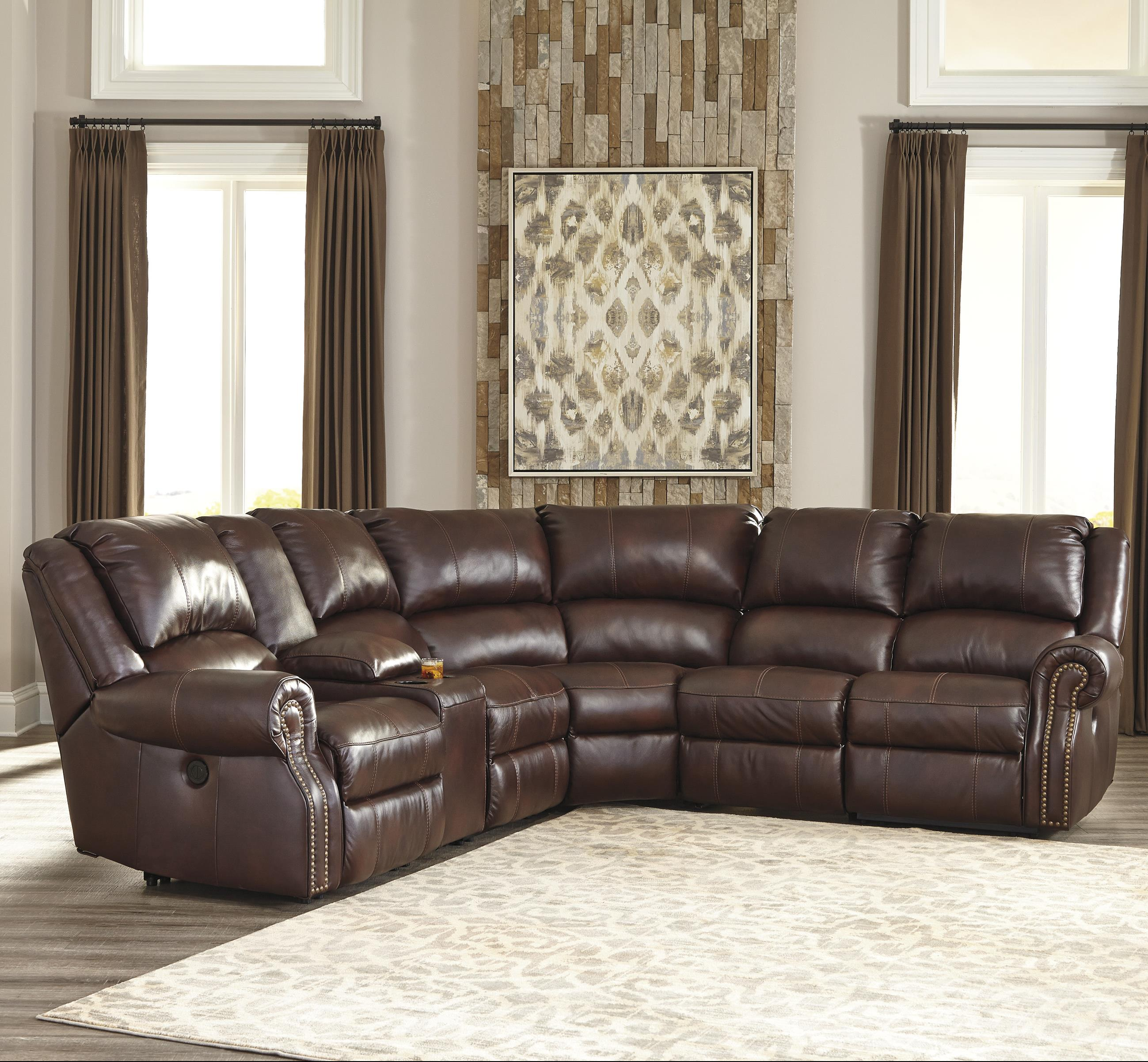 Signature Design by Ashley Collinsville 6Pc Sectional w/ Console & Armless Recliners - Item Number: U7210040+57+2x19+77+41