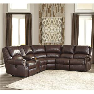 Signature Design by Ashley Collinsville 6Pc Sectional w/ Console & Armless Recliners