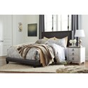 Signature Design by Ashley Dolante Queen Upholstered Bed in Grayish Brown Faux Leather