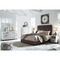 Signature Design by Ashley Dolante King Upholstered Faux Leather Bed with Goldtone Nailhead Trim