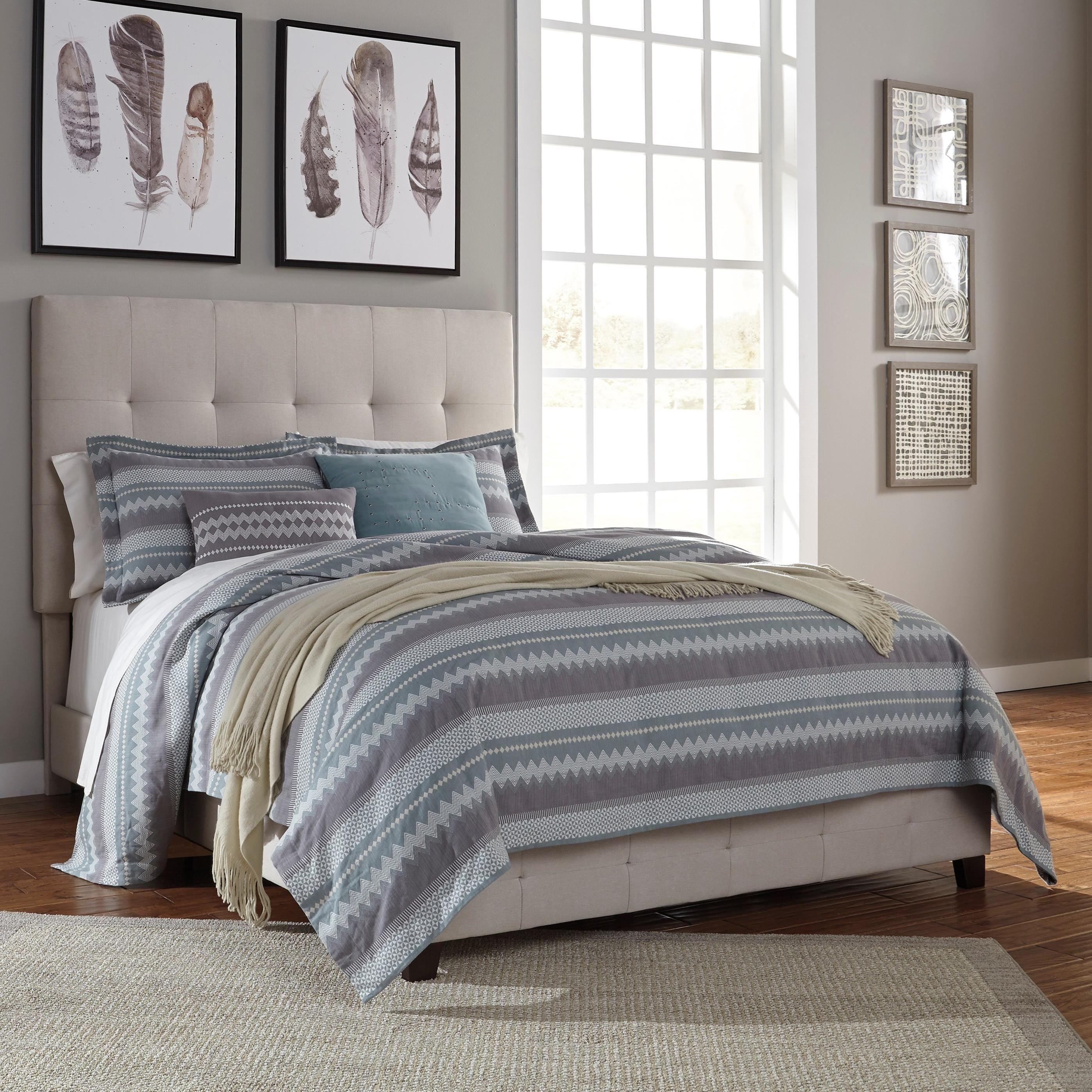 Signature Design By Ashley Dolante Queen Upholstered Bed In Cream Fabric Royal Furniture