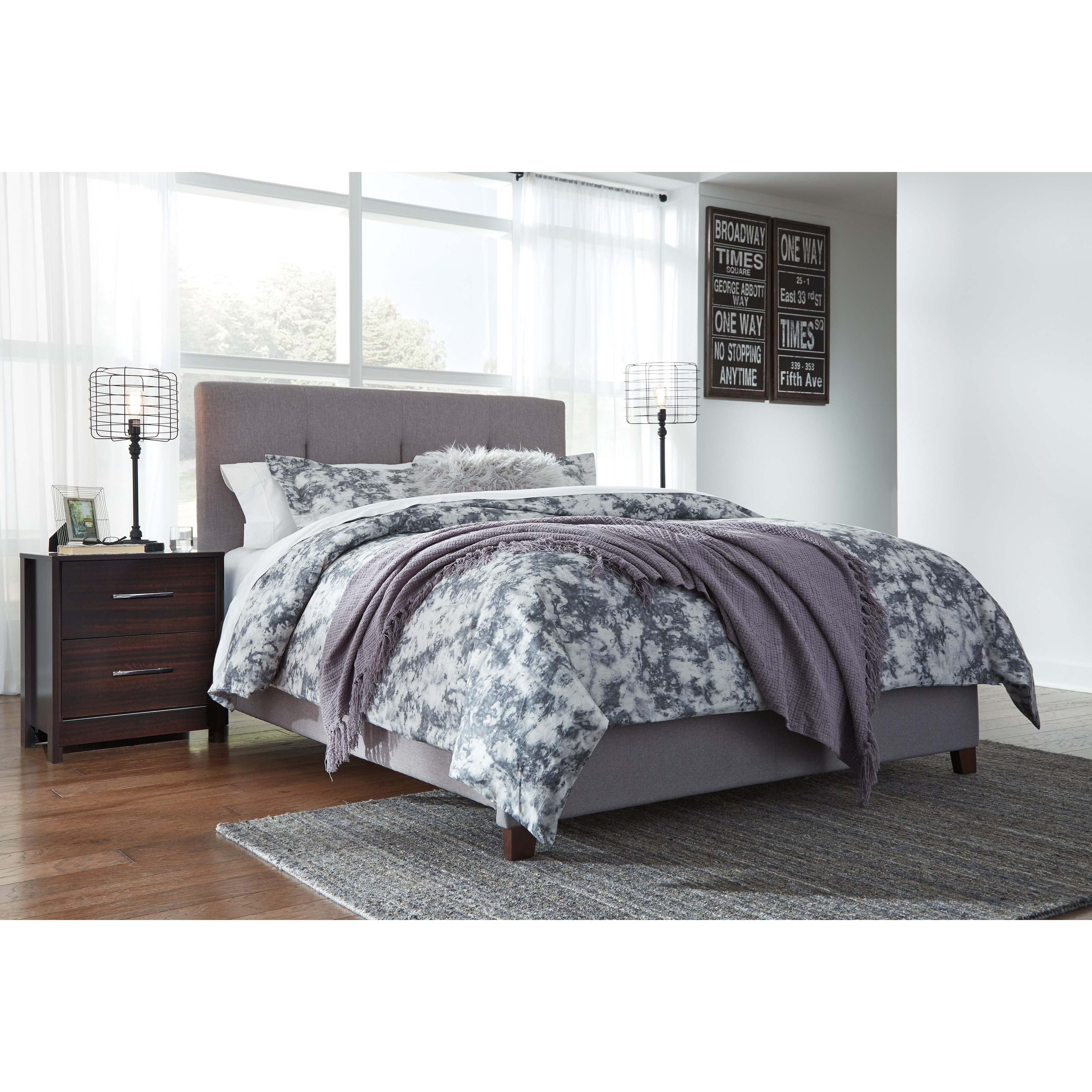 Ashley Signature Design Contemporary Upholstered Beds Queen Upholstered Bed With Channel Tufting