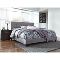 Signature Design by Ashley Dolante King Upholstered Bed with Channel Tufting & Gray Fabric