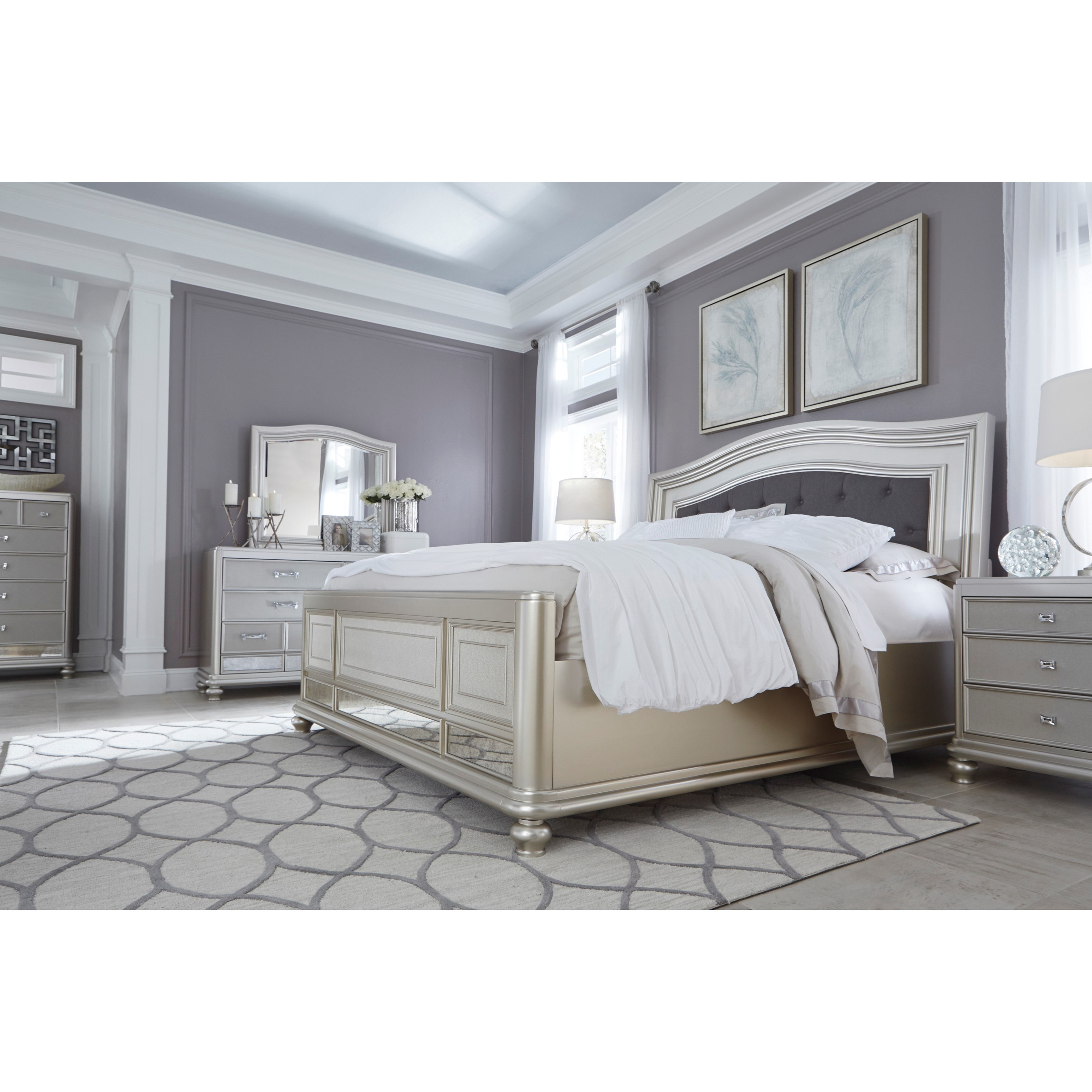 Ashley Signature Design Coralayne King Panel Bed With