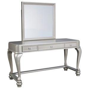 Vanity & Mirror in Silver Paint Finish