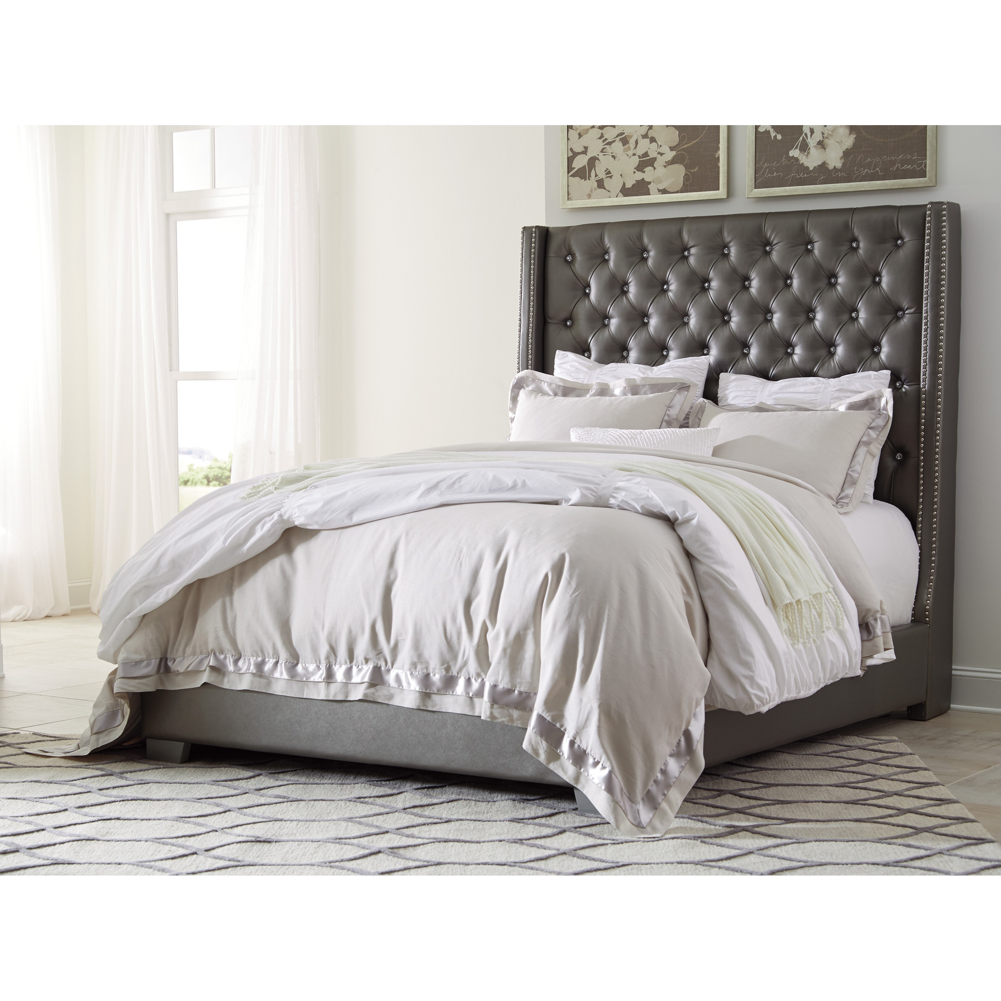 Signature Design By Ashley Coralayne Queen Upholstered Bed With Tall Headboard With Faux Crystal