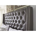 Signature Design by Ashley Coralayne Queen Upholstered Bed with Tall Headboard with Faux Crystal Tufting
