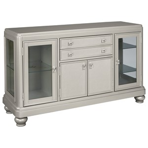Dining Room Server with Glass Doors & Silver Finish