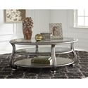 Signature Design by Ashley Coralayne Oval Cocktail Table in Silver Finish with Glass Top