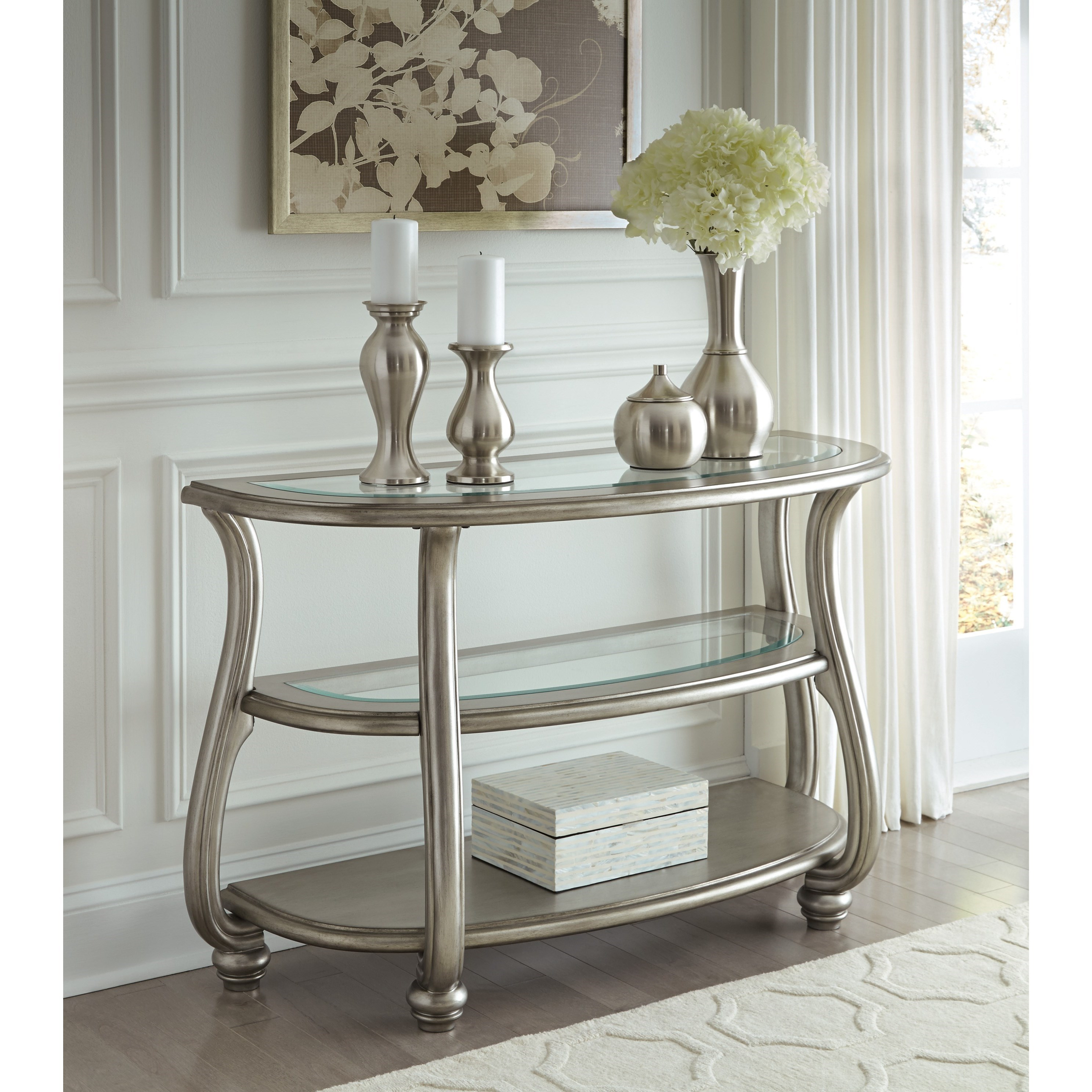 Del Sol As Coralayne T820 4 Demilune Sofa Table In Silver