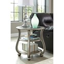 Signature Design by Ashley Coralayne Round End Table in Silver Finish with Glass Top