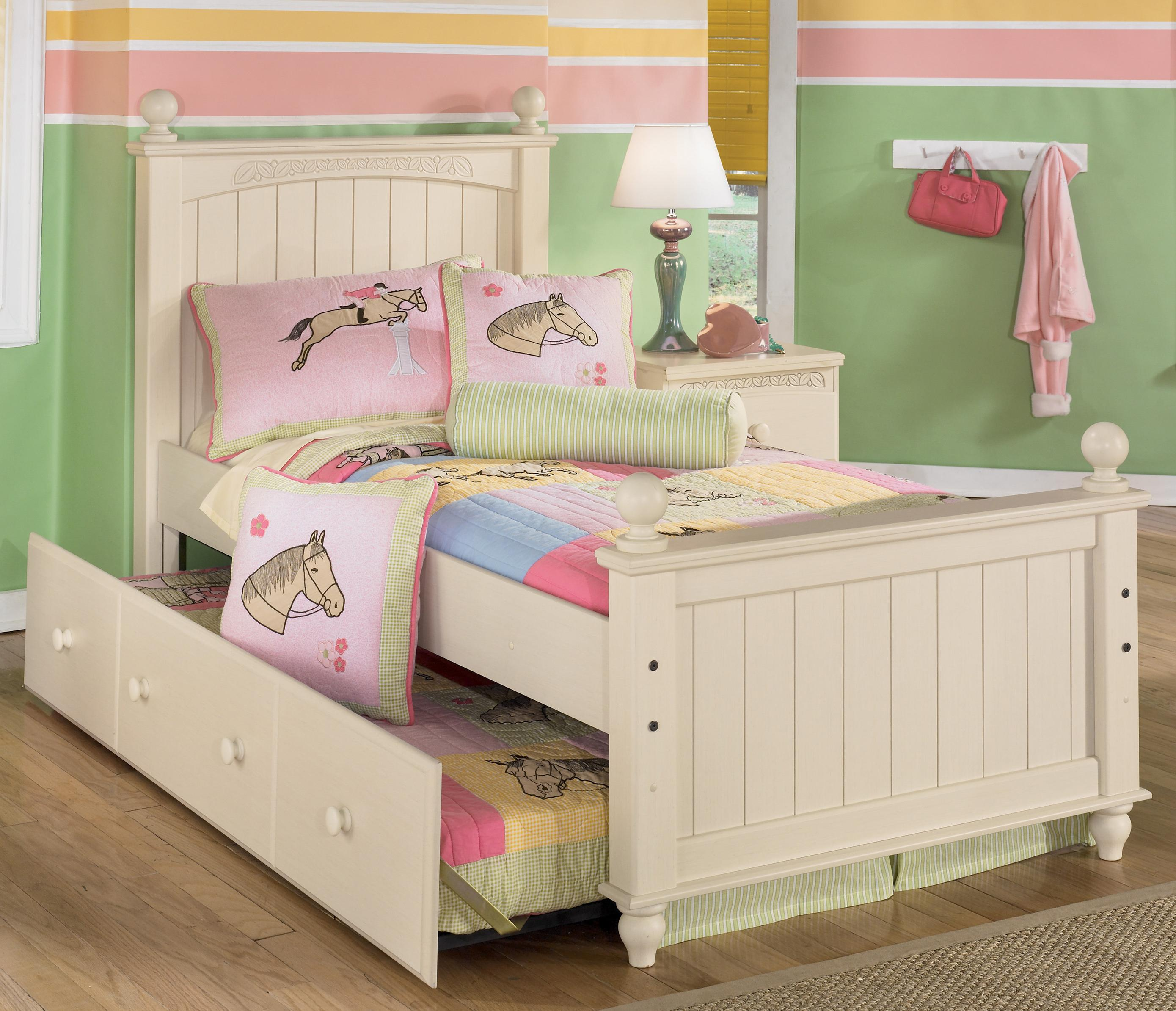 Signature Design by Ashley Cottage Retreat Twin Poster Bed with Trundle - Item Number: B213-52N+51N+83N+50+B100-82