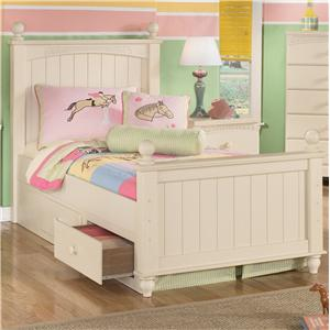 Signature Design by Ashley Cottage Retreat Twin Poster Bed with Underbed Storage