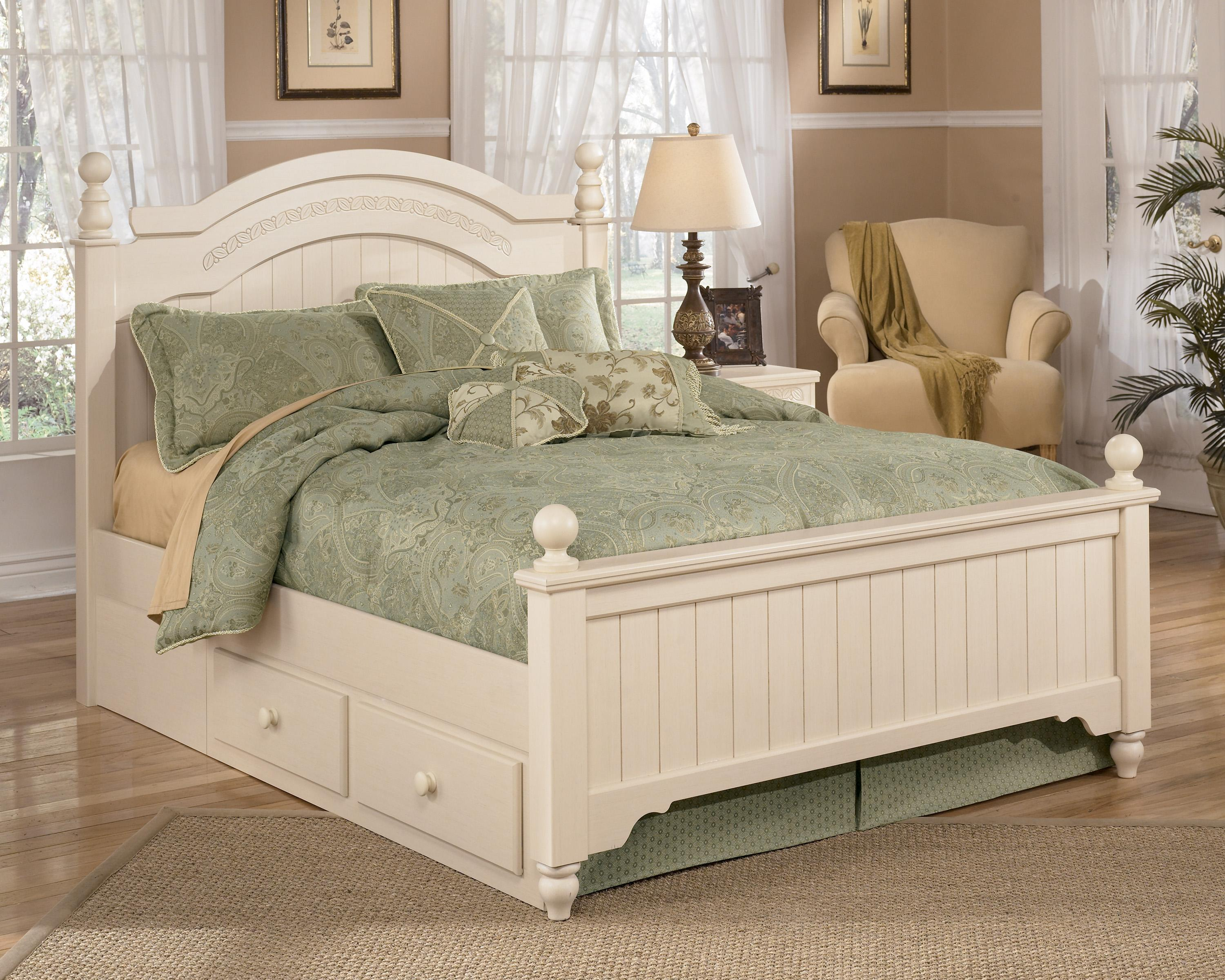 Signature Design by Ashley Cottage Retreat Full Poster Bed with Underbed Storage - Item Number: B213-57N+54N+89N+70