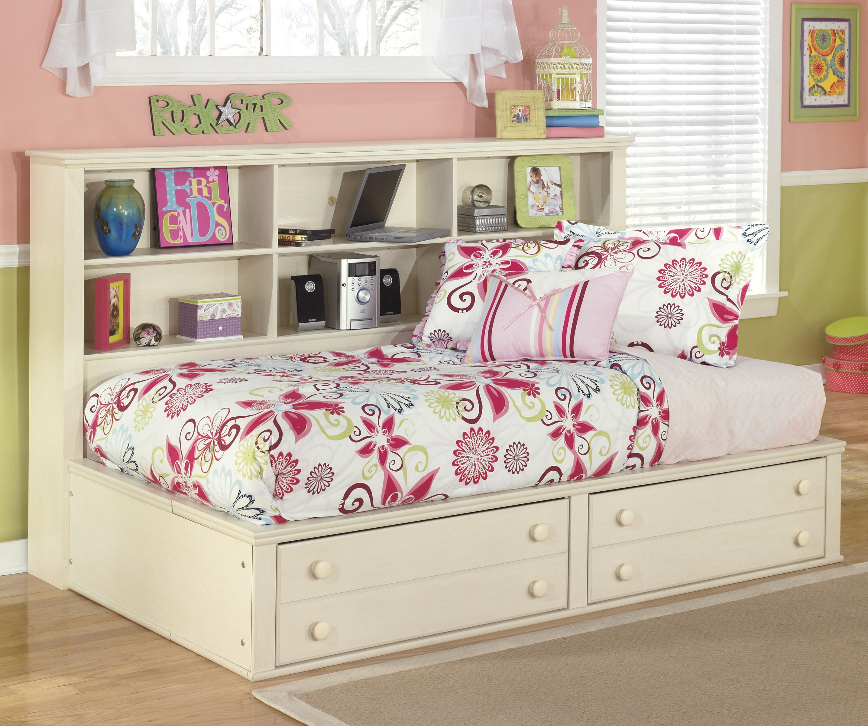Signature Design by Ashley Cottage Retreat Twin Bookcase Bed with Footboard Storage - Item Number: B213-85+05+90