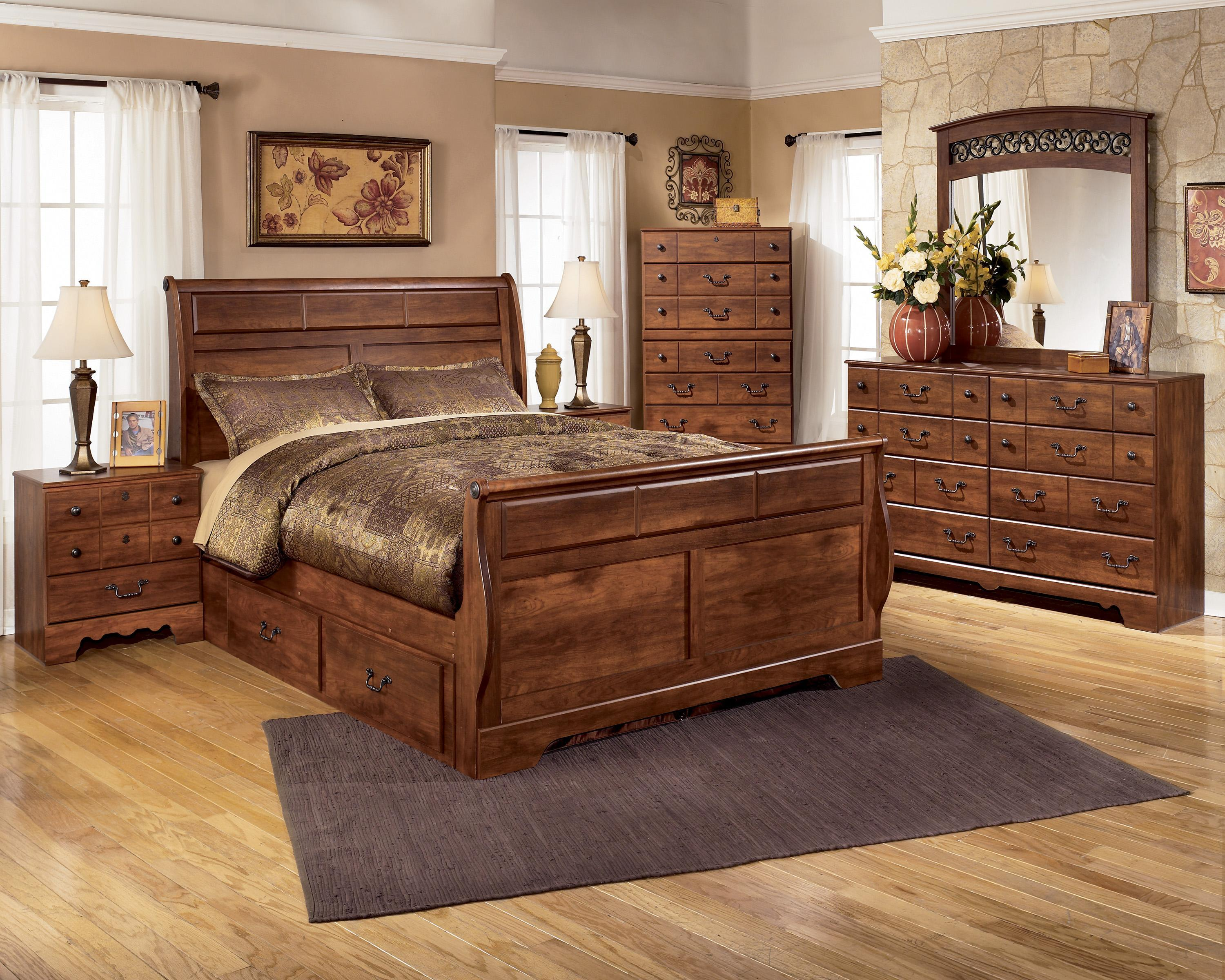 Signature Design by Ashley Timberline 4 Piece Bedroom Group - Item Number: B258 Q w St 4 Piece