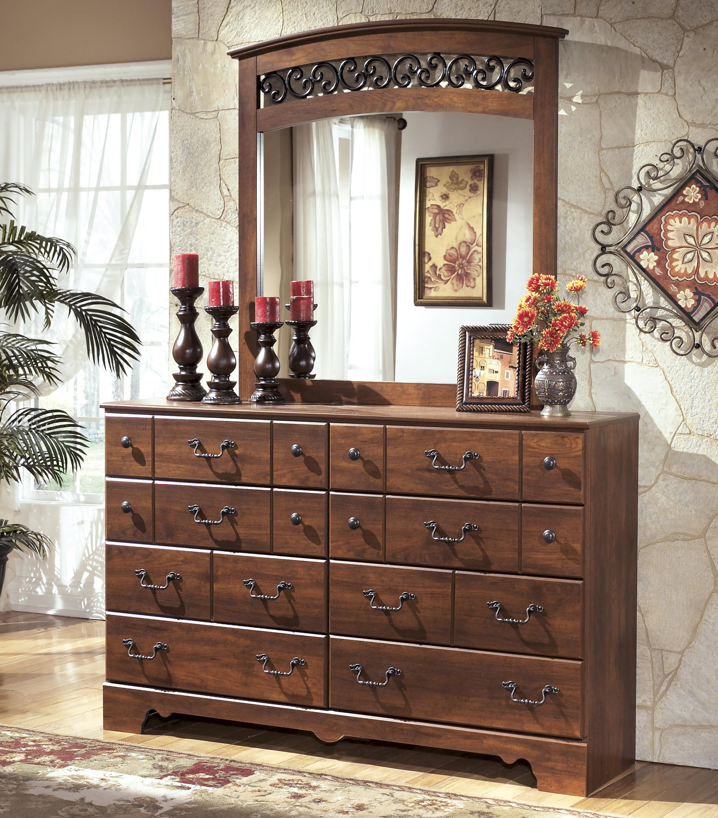 Signature Design by Ashley Timberline 8 Drawer Dresser and Mirror Set - Item Number: B258-31+36