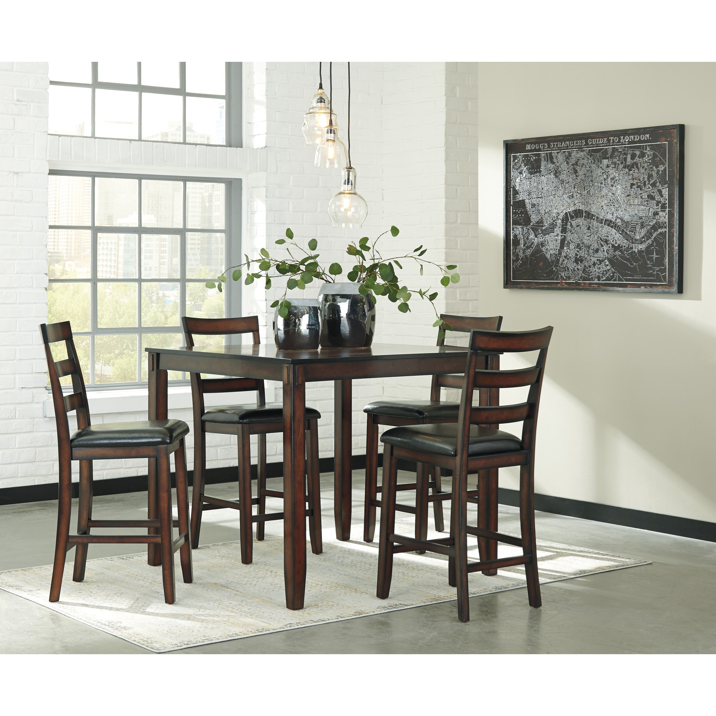 Signature design by ashley coviar burnished brown 5 piece for Dining room 5 piece sets