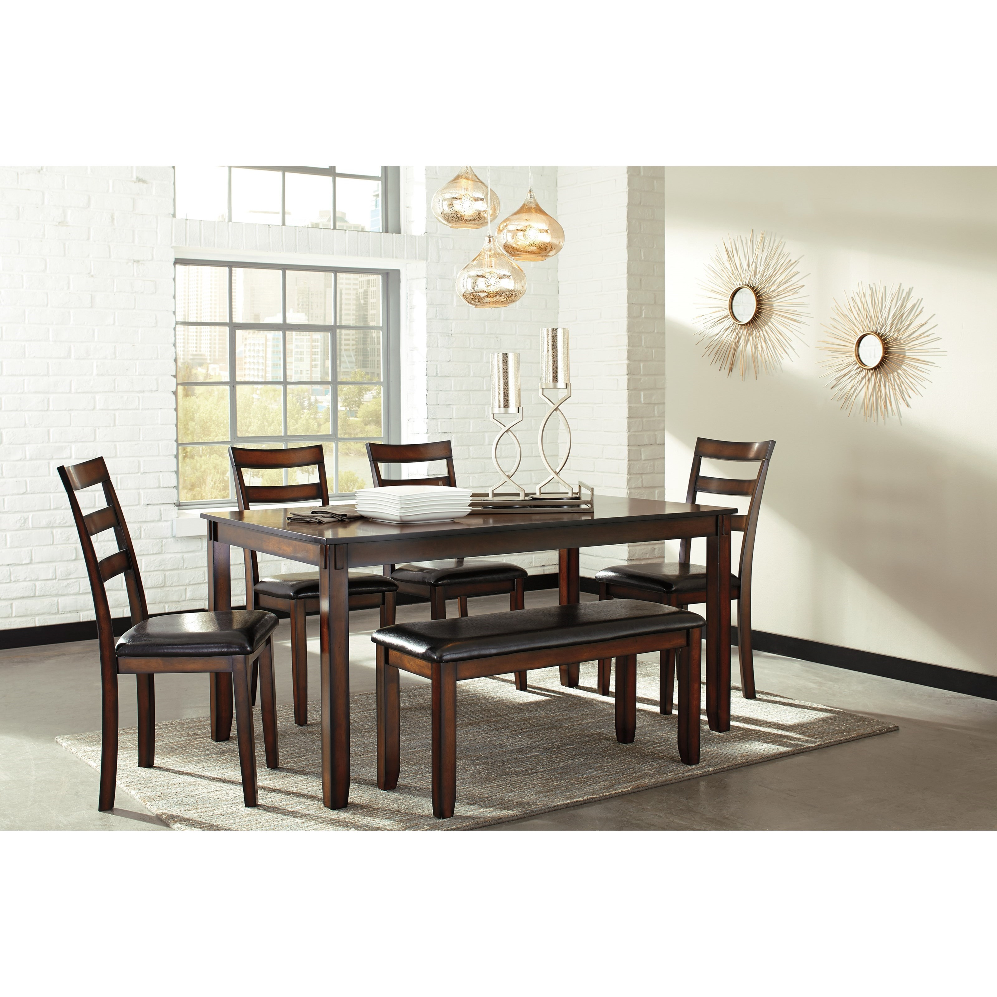 Ashley Furniture Dining Room Table: Ashley Signature Design Coviar D385-325 Burnished Brown 6