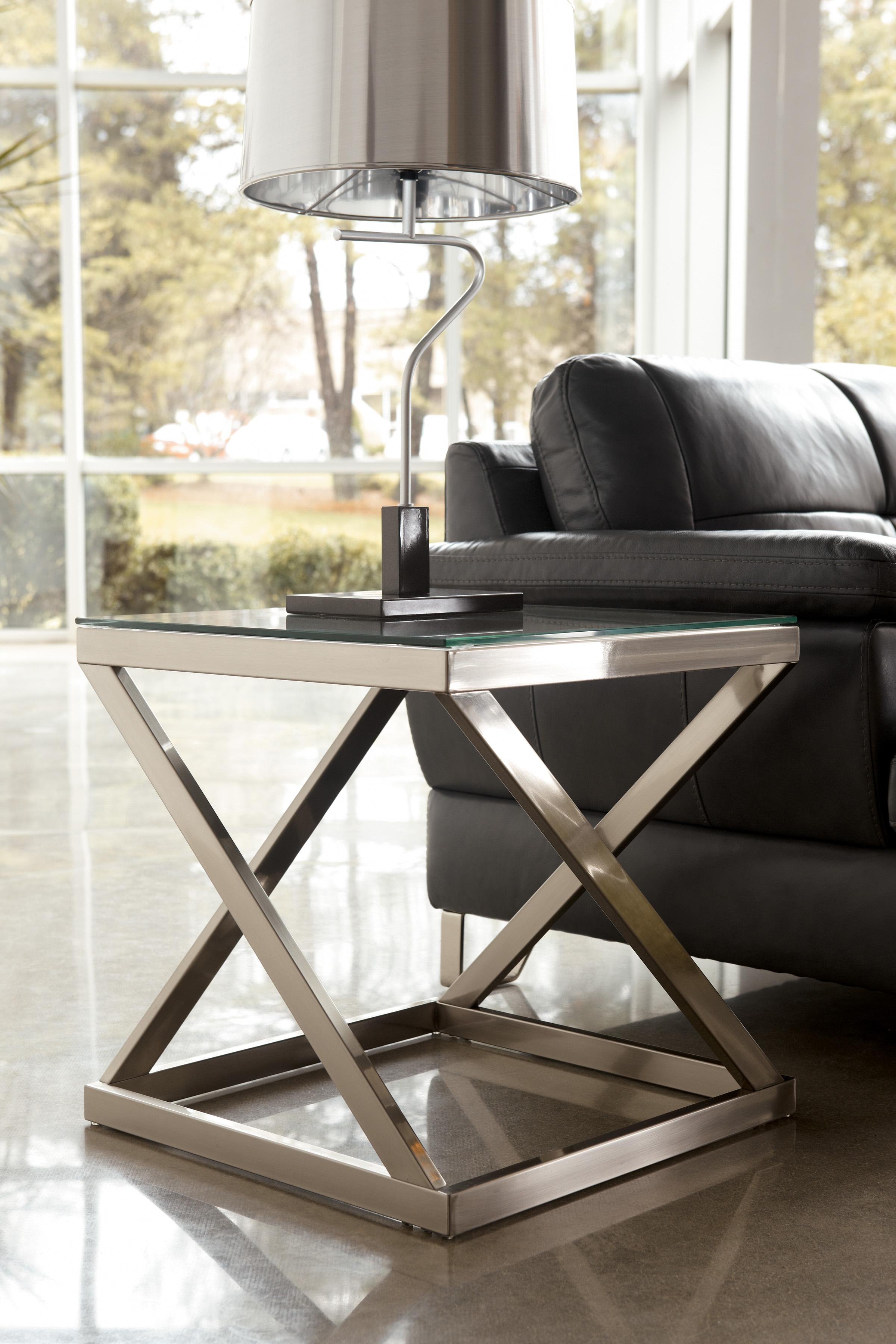 Coylin Brushed Metal Square End Table With Clear Tempered